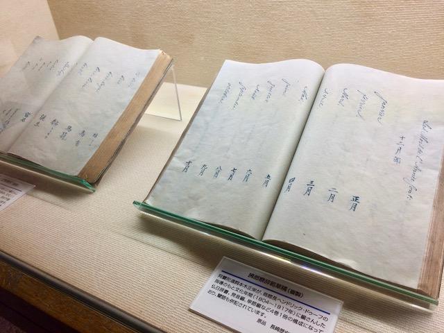 フランス語と日本語訳が書かれた大きな本