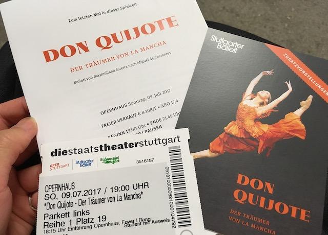 シュトゥットガルトバレエの『ドン・キホーテ』公演のチケットとパンフレット
