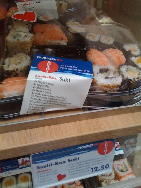 ハート型のパックに入った、『Suki』という名前のお寿司セット