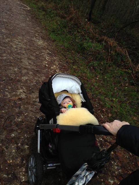 もこもこしたカバーでくるんだ赤ちゃんを乗せたベビーカー