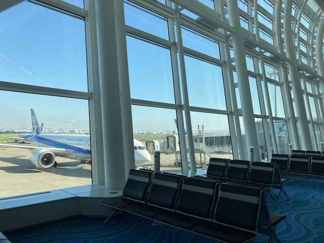空港の窓の外に見える青空と、ANAの機体