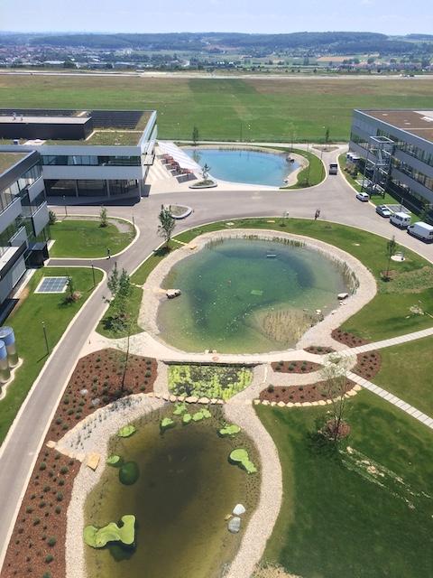 青く見える丸い池が3つあり、遊歩道で囲まれている